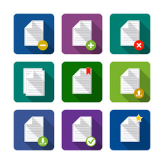 Document. Set of flat long shadow icons. Eps10 vector