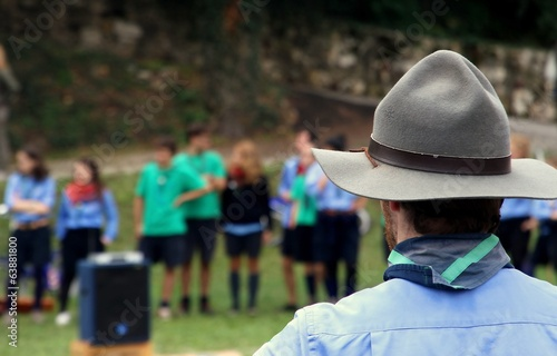 Chief scout with the typical Hat while controlling their kids