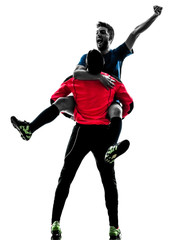 two men soccer player goalkeeper  celebration silhouette
