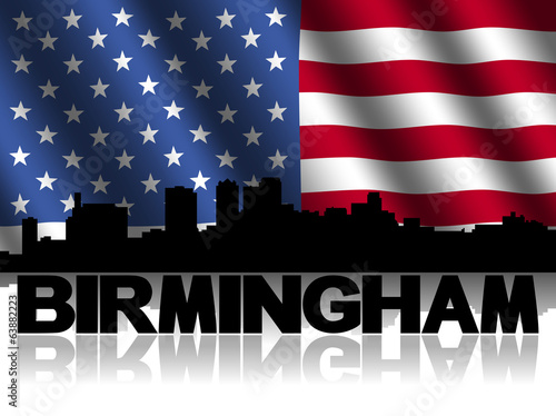 Birmingham skyline text reflected American flag illustration