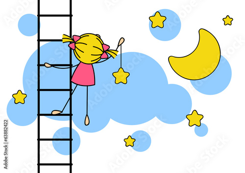 Cute little girl hanging star