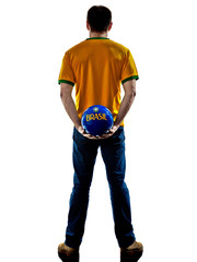 man Brazilian Brazil holding soccer ball