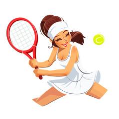 Beautiful girl play tennis. Eps10 vector illustration.