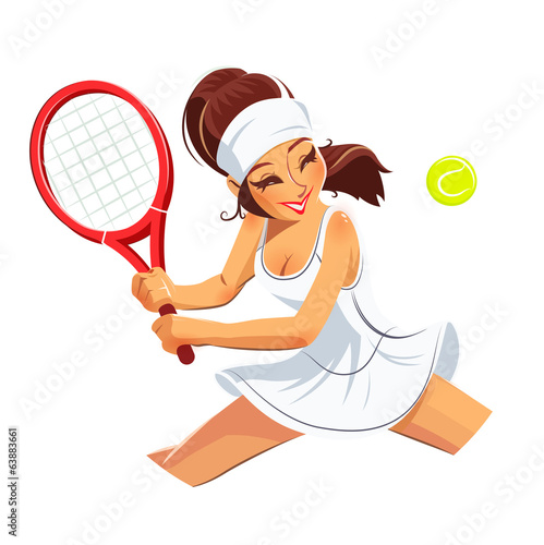 Beautiful girl play tennis. Eps10 vector illustration.