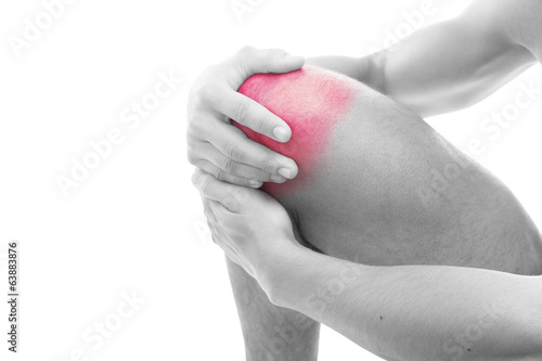Man having knee pain isolated on a white background