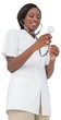 Young nurse listening with stethoscope