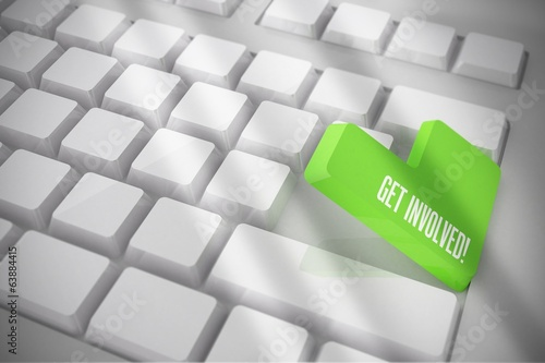 Get involved on white keyboard with green key
