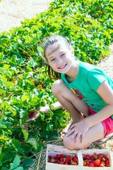 Bambina a raccogliere le fragole