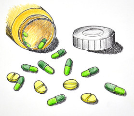 Hand drawn of medicine pills and tablet