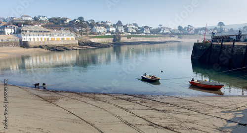 St Mawes harbour boats Cornwall England UK