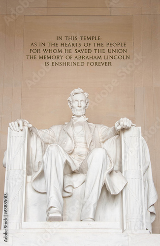 The statue of Abraham Lincoln inside Lincoln Memorial in Washing