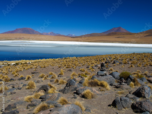 Blue lagoon of Altiplano in Bolivia