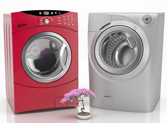 Washing machines isolated and bonsai over white - 3d render