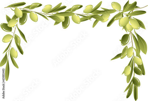 green olives half frame isolated on white