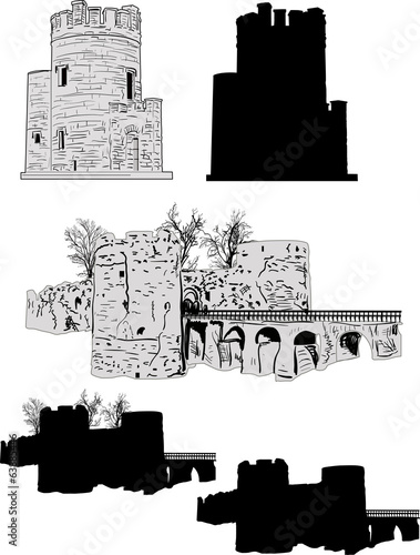 set of black and grey towers isolated on white