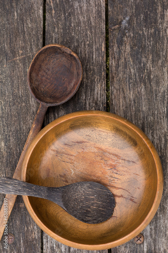 old wooden bowl and spoons