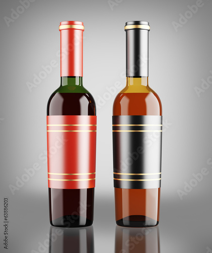 Red and white wine bottles over dark gray background
