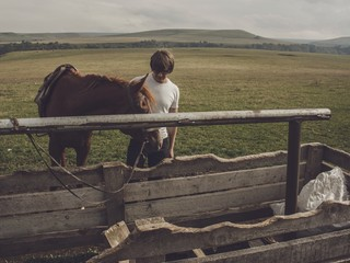 a man and a horse