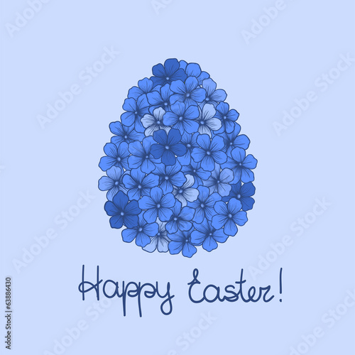 Easter greeting card with flowers in the form of egg
