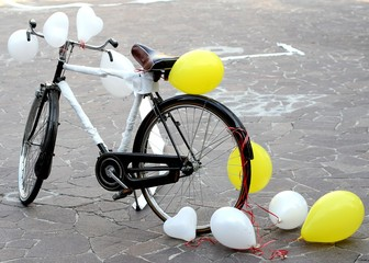 bicycle to make a joke to two future bride and groom just marrie