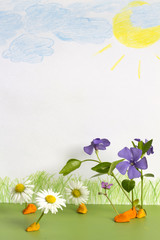 Abstract spring meadow with child painting