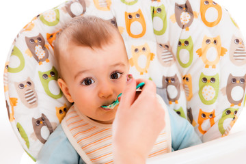 Adorable baby eating