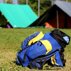 single backpack in the campsite