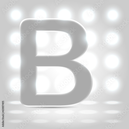 B over lighted background