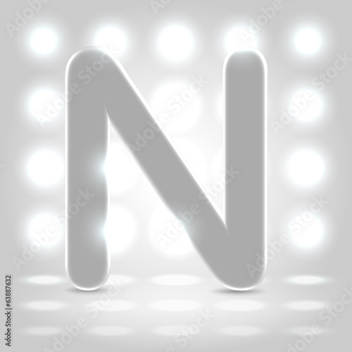 N over lighted background