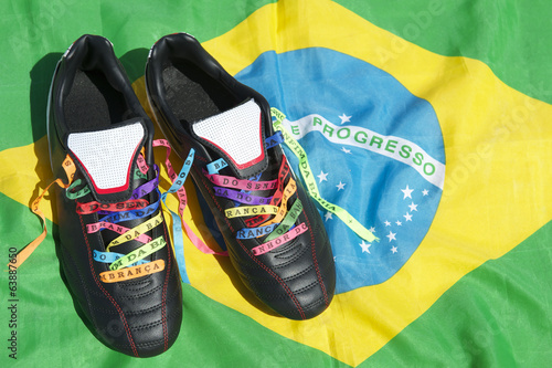 Good Luck Soccer Football Boots Brazilian Wish Ribbons Flag