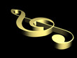3D golden music key in the dark