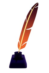 realistic 3d render of writing quill with inkpot
