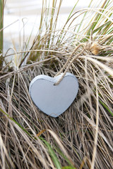 single blue wooden heart on beach dunes