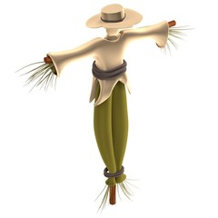 realistic 3d render of scarecrow