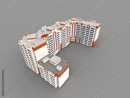 Modern building on gray background, 3D render.