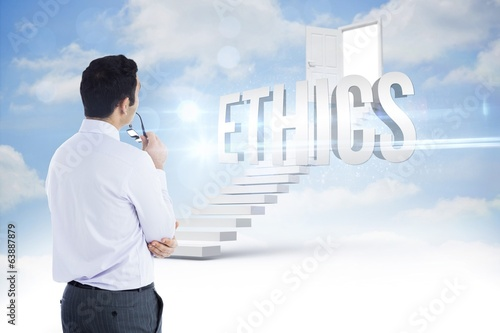 Ethics against steps leading to open door in the sky