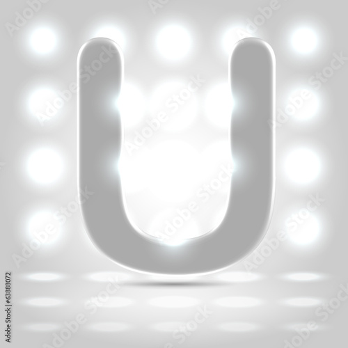 U over lighted background