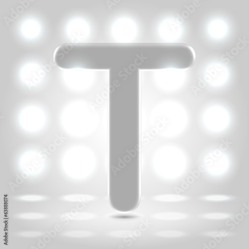 T over lighted background