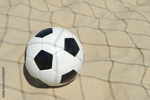 Soccer Ball in Football Net Shadows Brazil Beach