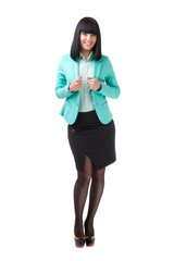 Full length of beautiful business woman showing