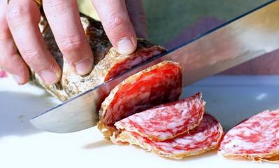 salami sliced by butche