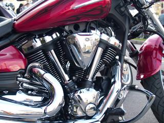 Shiny chrome plated motorcycle engine