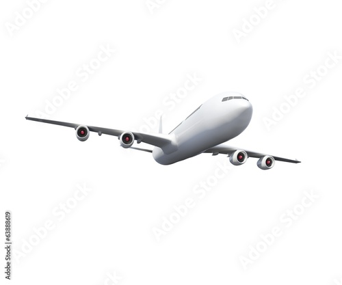 Digitally generated white graphic airplane
