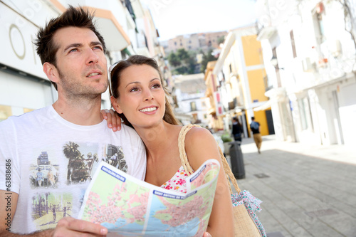 Couple visiting the streets of old mediterranean town