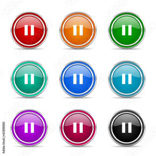 pause icon vector set