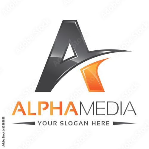 Letter A Logo Alpha Orange