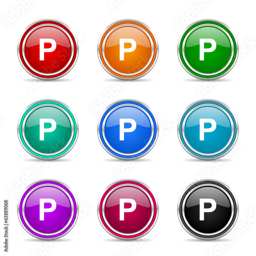 parking icon vector set