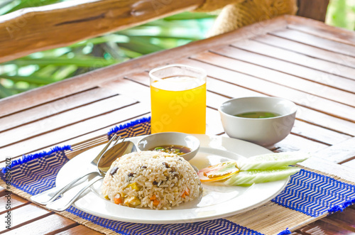 Fried rice with orange juice