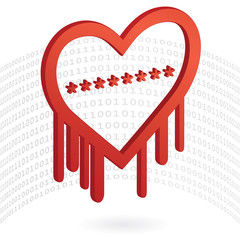 Heartbleed Bug, 3D Heart shape with red bleed - Illustration