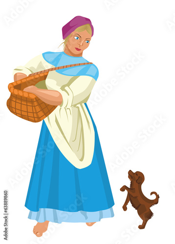 Illustration of a woman with a basket. Сountrywoman